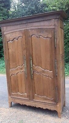 Stunning Antique Handmade Carved 18Thc  Ancient French Armoire With Iron Key