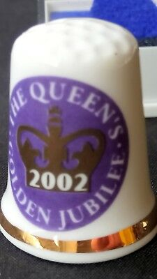 Queen Elizabeth Ii Golden Jubilee 2002 50Th Bone China Souvenir Thimble Cased