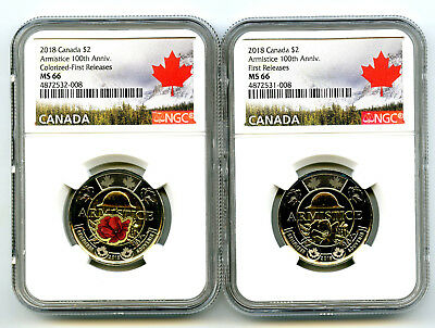 2018 Canada $2 Wwi Armistice Poppy Ngc Ms66 Toonie 2-Coin Set Matching Cert #