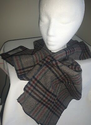 Vintage Mens Wool blend plaid check Foulard scarf browns blues wine check MINT