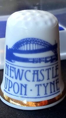 Newcastle Upon Tyne Bridge Gateshead Mott Hay Bone China Souvenir Thimble Cased