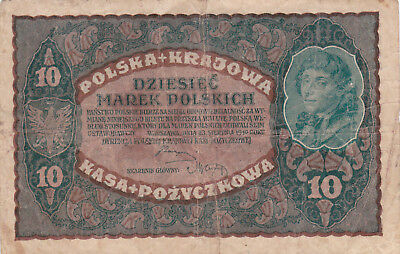 10 Marek Vg Banknote From Poland 1919!!pick-25!