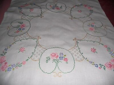 """Vintage white linen 33""""  TABLECLOTH hand embroidered  cross stitch floral motif"""
