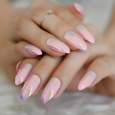 Medium Stiletto False Nails Pink Nail Art Holographic Chrome Metal Tips Glue