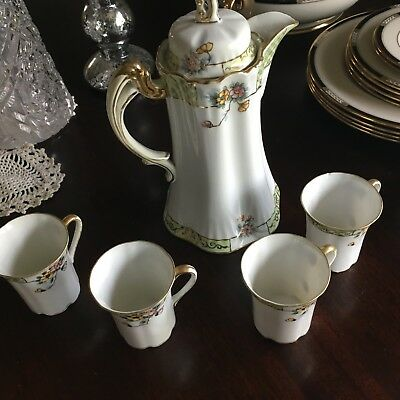 Hand painted Nippon hot chocolate set with 4 cups and saucers