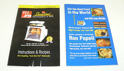 Ronco Showtime Rotisserie & BBQ 4000 Model Instructions & Weight Loss Booklet