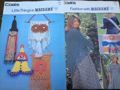 2 x Coats Macrame Patterns Owl, Witch, Wall Hangings, Shawl, Belts, Guitar Strap