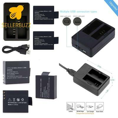 Vvhooy 2 Pcs 900Mah Rechargeable Battery And Rapid Dual Charger For Action Camer