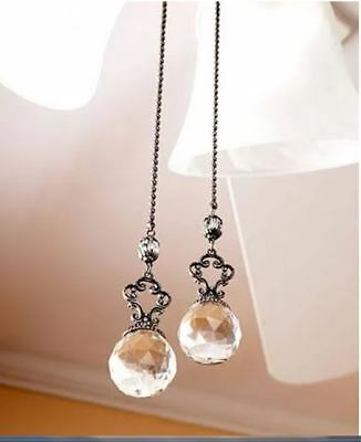 Lot of 2  Beautiful Clear Crystal Ball Jeweled Ceiling Fan Chain Pulls -NEW