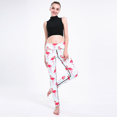 b53a44a10fa67 Women Yoga Leggings Flamingo 3D Digital Full Print Sports Workout Trousers  Pants