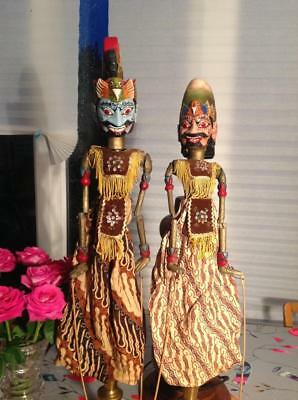 Vintage Javanese 'Wayang Golek' LARGE Hand Carved Puppets Unique Chic Interiors