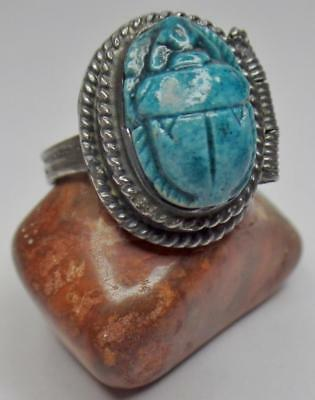 Egyptian Revival Deco Sterling Faience Scarab Beetle  Poison Compartment Ring