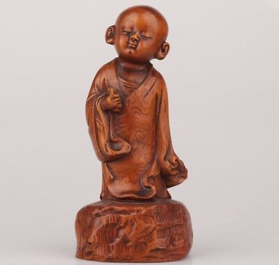 Ancient Chinese Boxwood Statue Spiritual Belief Old Hand-Carved Monk Enshrine