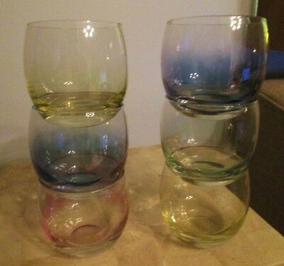 Mid Century Danish Modern 1960's Federal Bar Glass Roly Poly Rocks 6 Tumblers