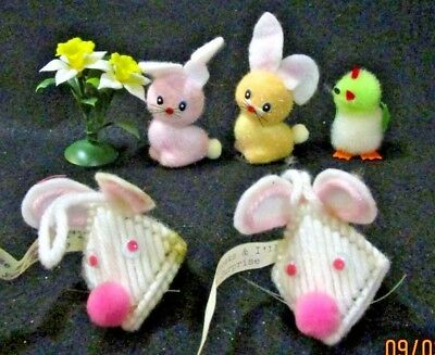 Vintage 60'S EASTER BUNNY RABBITS, CHICK  & PLASTIC LILIES LOT OF 6