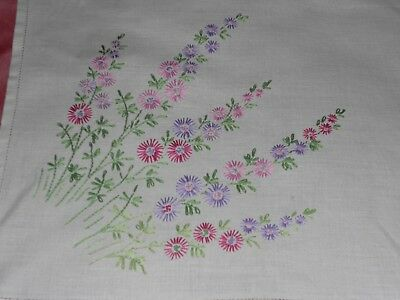 Vintage white linen TABLECLOTH/TRAY/MAT hand  embroidered with pretty flowers