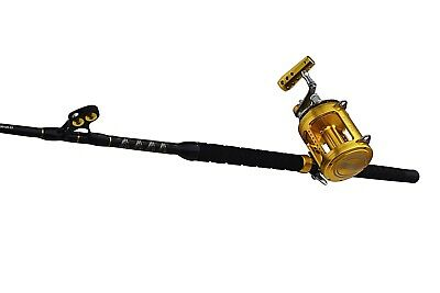 Blue Marlin Tournament 100-120 saltwater fishing rod with a 50 wide 2 speed reel
