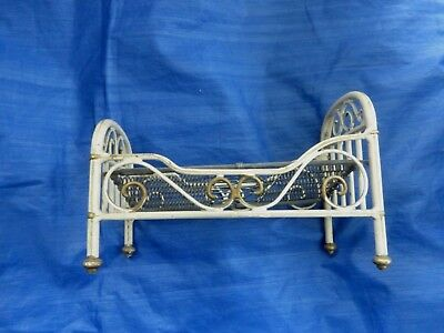 Dolls' House Miniature - Vintage Good Quality Metal Bed With Springs