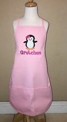 Penguin Personalized Kids Child  Bakery Kitchen Chef Hat & Apron Apron