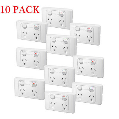 10pcs/Set Double Pole Switched Socket 10 AMP Power Point Home Plug Wall Outlet