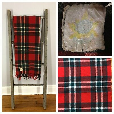 VTG 50s AYERS Red Green PLAID Checker Pattern WOOL BLANKET CAMP Throw Troy Bay