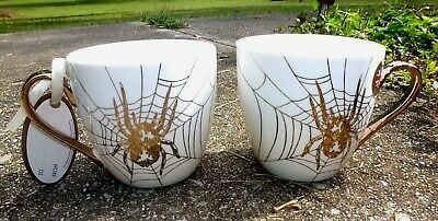 NEW SET of 2 CAMBRIDGE LIMITED EDITION HALLOWEEN SPIDER CHINA COFFEE MUGS CUPS