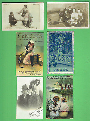 #d445.  #24.  Lot Of Six (6) Postcards -  Family, Lovers & Fashion