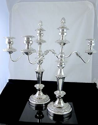 """Pair Large Vintage GOLDFEDER SILVER Co Silverplate 3 ARMS CANDELABRAS 20.5"""""""