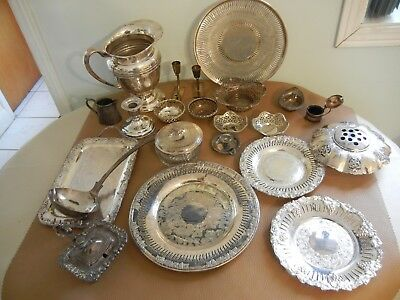 VERY NICE LOT 10 lbs.  VINTAGE SILVERPLATE LOT ,  TRAY / PLATER , JUG , ECT..