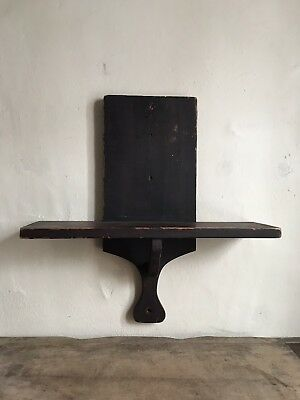 Early Antique Square Nail Spanish Brown Painted Hanging Wooden Shelf 19th C AAFA