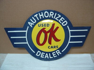 """Ok Used Cars Authorized Dealer...21"""" X 12""""... Vintage Look Metal Sign"""