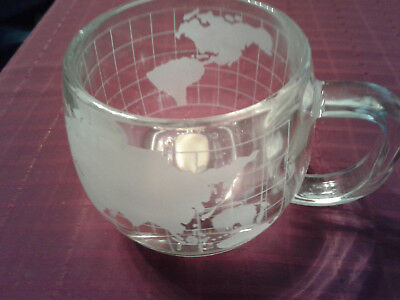 NESTLE/NESCAFE World/Globe Frosted Coffee Cups - Set of 4 - Vintage Glass