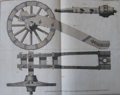 1765 Large Diderot Engraving - CANNON FOUNDRY - Cannon & Carriage - Hand Colored