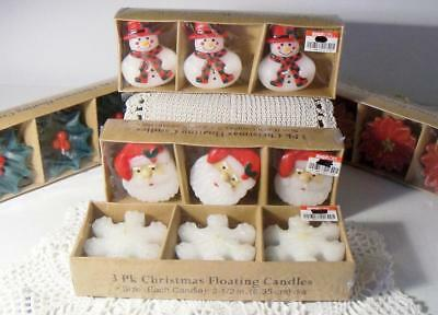 15 Floating Christmas Candles~New/MIB~Santa/Snowman/Snowflake/Poinsetta/Holly~#3