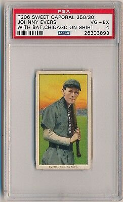 JOHNNY EVERS 1909-11 T206 Sweet Caporal With Bat Chicago on Shirt PSA 4 CUBS HOF
