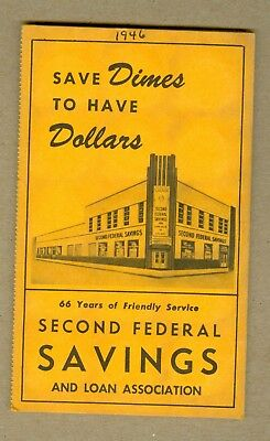 Second Federal Savings Loan Assoc., Chicago Dime Savings Book W/ 30 Barber Dimes