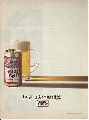 Everything else is just a light. 1988 Bud Light Beer ad
