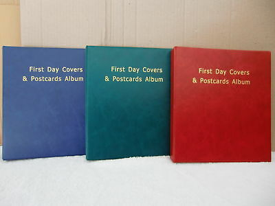 New 100 First Day Covers & Postcards Album (Red). @ additional back