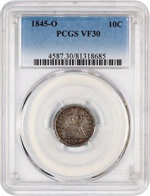 1845-O 10c PCGS VF30 - Scarce New Orleans Dime - Liberty Seated Dime