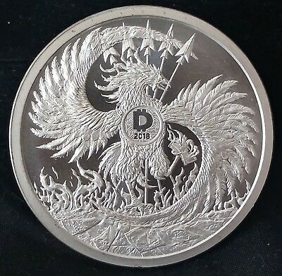 2oz SILVER SHIELD Death of the Dollar Mark of the Beast BU w/COA MiniMintage Cap