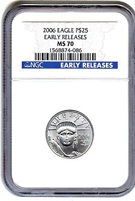 2006 Platinum Eagle $25 NGC MS70 (Early Releases) Statue Liberty 1/4 oz