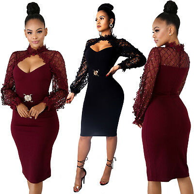 ❤Women Mock Neck Lace Mesh Patchwork Sequin Long Sleeve Hollow Out Bodycon Dress