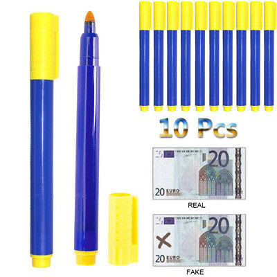 10pcs Bank Note Checker Pen Forged Counterfeit Fake Money Detector Marker Tester