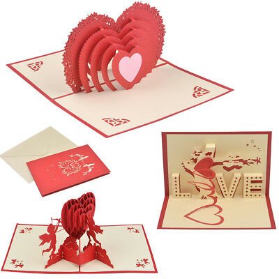 New 3D Pop Up Cards Valentine Lover Happy Birthday Anniversary Greeting Cards UK