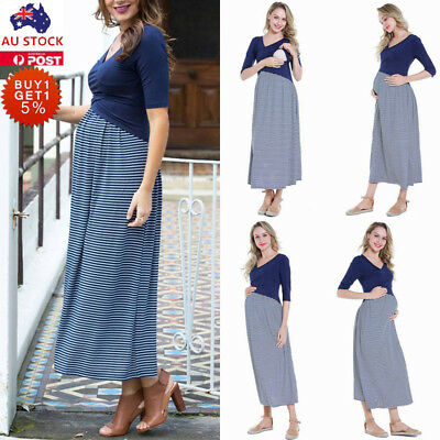 Pregnant Women Striped V Neck Maxi Dress Casual Loose Maternity Nursing Dress