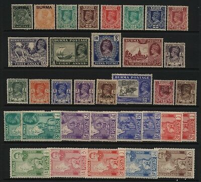 Burma Collection 34 Stamps Unused Mounted