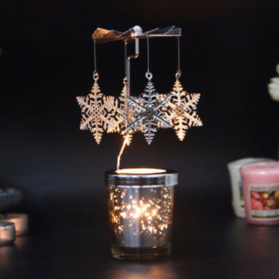 Rotary Spinning Candlestick Tea Light Candle Holder Carousel Tabletop Decor Gift