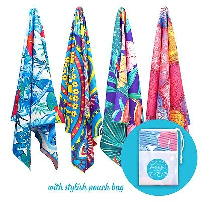 Microfibre Beach Towel - Quick Dry, Sand Free for Travel/Beach/Swimming w Pouch