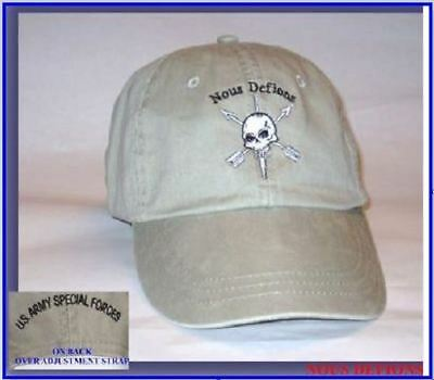 """ARMY Special Forces Group SPEC OPS GREEN BERET """"WE DEFY"""" NOUS DEFIONS HAT CAP"""