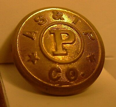 "VINTAGE STEAMSHIP BRASS BUTTON A S & T P CO 15/16"" LISTING MANY BUTTONS # a"